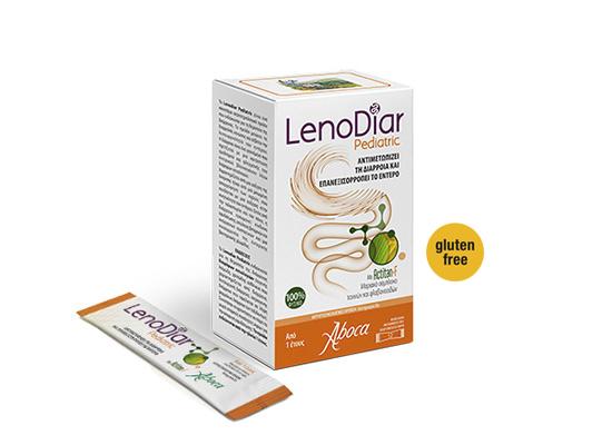 Συσκευασία προϊόντος Lenodiar Pediatric που αντιμετωπίζει τη διάρροια